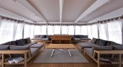 Luxurious day lounge on the upper deck of superyacht Mystere Shadow