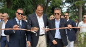 M. Caleo, M. Perotti, U. Galazzo at the launch of Sanlorenzo&#039;s new marina travel lift and the Sanlorenzo SL72 motor yacht - Credit Sanlorenzo