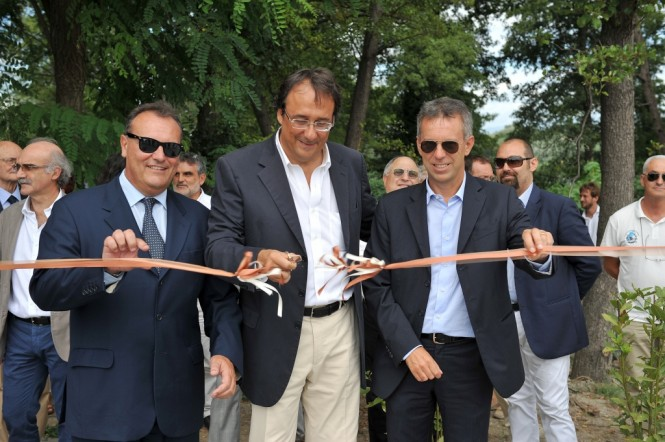 M. Caleo, M. Perotti, U. Galazzo at the launch of Sanlorenzo's new marina travel lift and the Sanlorenzo SL72 motor yacht - Credit Sanlorenzo