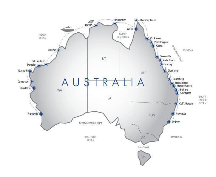 Map Of Australia Detailing The 9500km Coastline Honda Over: Map Of Australia Coastline At Infoasik.co