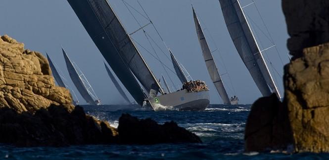 Maxi division heads upwind Photo credit Rolex  Carlo Borlenghi