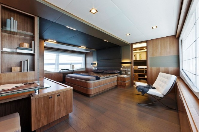 Master Cabin of Motor yacht Desta by Ferretti Group  The first Custom Line 100 