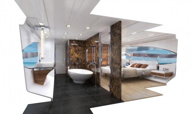 Owner's stateroom of the 72' Motor yacht by Joachim Kinder Design