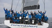 Rambler 100 team celebrating at the Lizard Point finish in South Cornwall, U.K. (photo credit TR2011 Mark Lloyd)