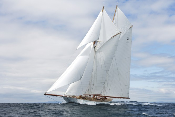 Sailing yacht Elena, the magnificent 55 metre A Class Racing Schooner August 2009 – Photo Credit Mount Gay Rum Round Barbados Race
