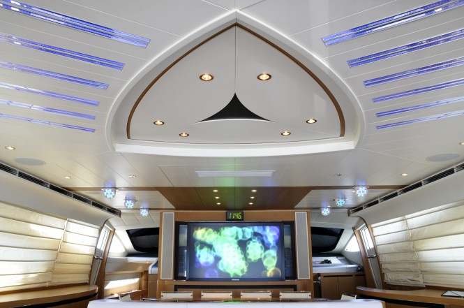 Salon of Pershing yacht Mistral 55 completed in party mode