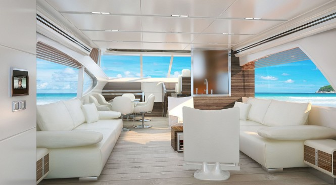 Salon of the 72' flybridge motor yacht by Joachim Kinder Design