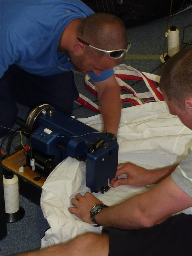 Specialist sail repair training is given to Clipper race crews © Hyde Sails