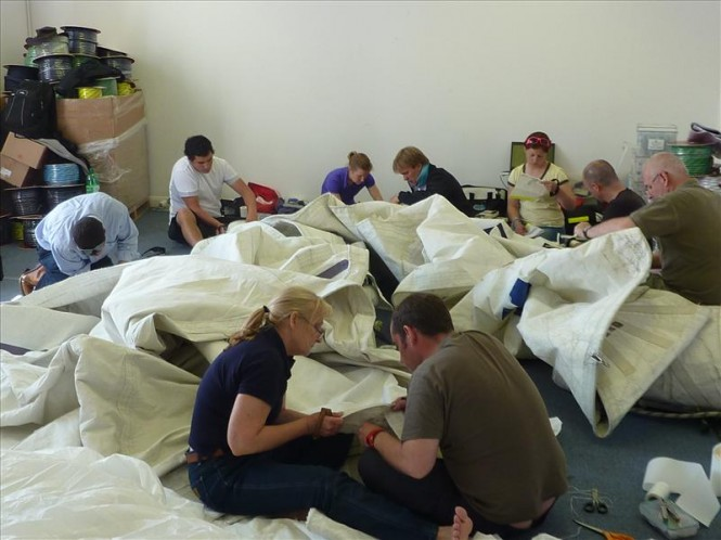 Specialist sail repair training is given to Clipper race crews © Hyde Sails..