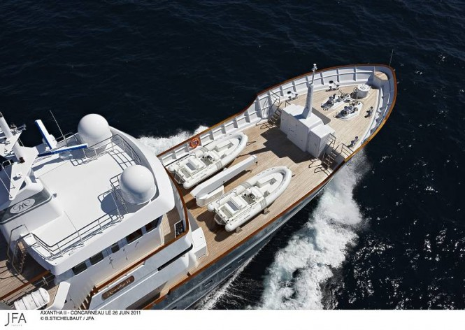 Superyacht Axantha IIs foredeck stores two 5.6 meter ribs, perfectly equipped for one day expeditions  Photo Credit B.Stichelbaut JFA