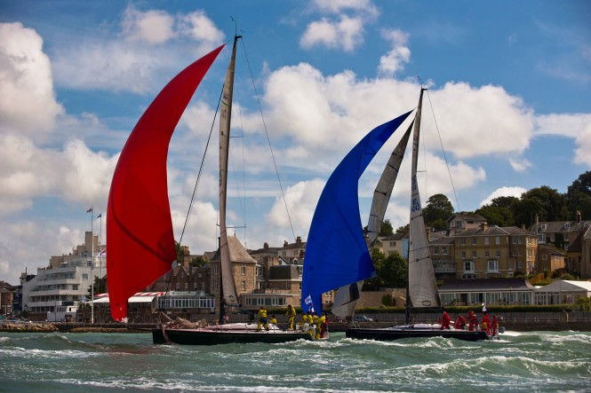 Swan European Regatta Fleet do battle in front of the Royal Yacht Squadron, Cowes © Kurt Arrigo 09