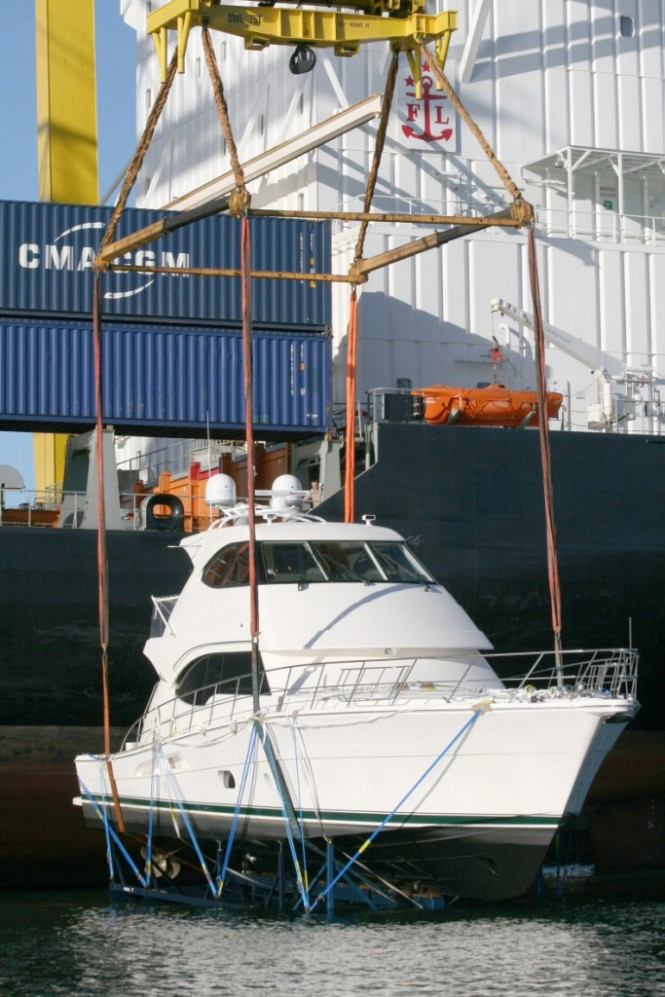 The first Riviera 70 yacht bound for Europe
