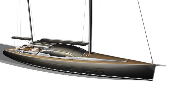 Tony Castro designed 35m superyacht rendering