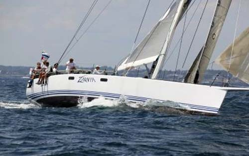 Zaraffa Reichel Pugh 66-footer at the start of Transatlantic Race 2011 Newport RI  Photo Credit TR2011 ©Billy Black