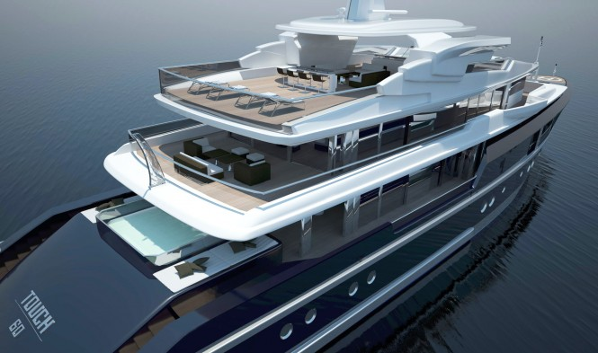60m Touch yacht concept designed by Newcruise - Aft view