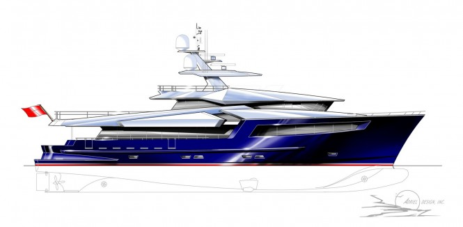 A 126ft motor yacht study by Adriel Design