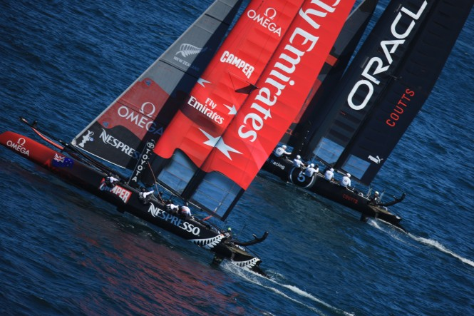Americas Cup World Series in Cascais Emirates Team New Zealand double winners - Photo © ACEA (2011)  Photo Gilles Martin-Raget
