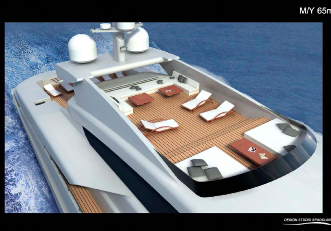 Detail of the new 65m Spadolini designed motor yacht for Rossi Navi
