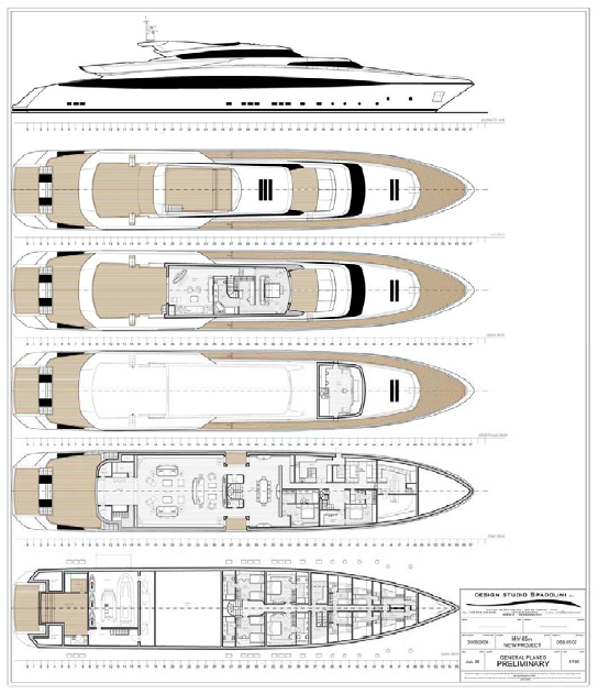 General Arrangements of the 65M Spadolini Yacht for Rossi Navi