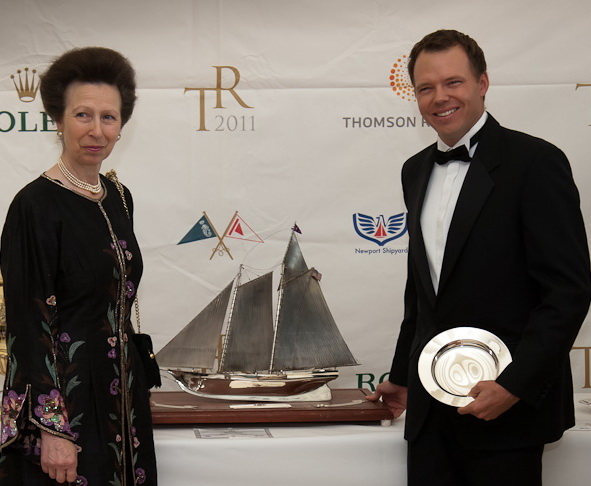 Her Royal Highness Princess Anne presents Phaedo's Lloyd Thornburg (St. Barthelemy) with the RYS Benzie Trophy. (Photo Credit TR2011Paul Wyeth)