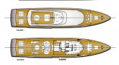 Layout of the CNB 43.20 m motor yacht designed by German Frers Image courtesy of CNB Superyachts