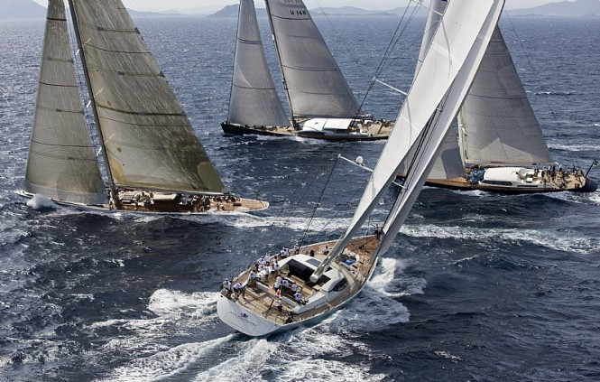 Maxi division sailing yachts head upwind - Photo credit Rolex  Carlo Borlenghi