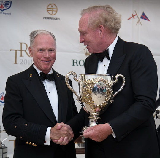 NYYC's Commodore Towse (left) with Rambler 100 skipper George David (Hartford, Conn.), who receives the RORC Loujaine Trophy. (Photo Credit TR2011Paul Wyeth)