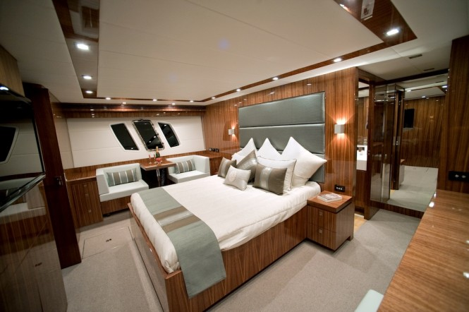 New Ocean Yachts 68 Enclosed Flybridge Motoryacht - Full beam master stateroom is an owners oasis