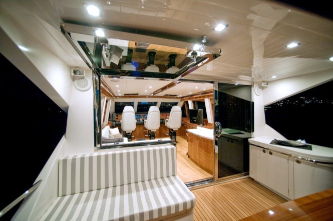 New Ocean Yachts 68 Enclosed Flybridge Yacht - Quality abounds this stunning vessel as seen in the class leading flybridge