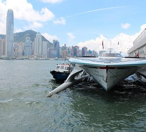 MS Tûranor PlanetSolar is on her way to Singapore after one week in Hong Kong