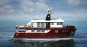 Red version rendering of the Ocean King 88 Explorer Yacht