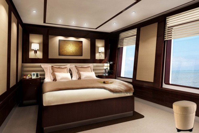 Guest cabin of Superyacht Helix the 5th F45 Vantage motor yacht by Feadship