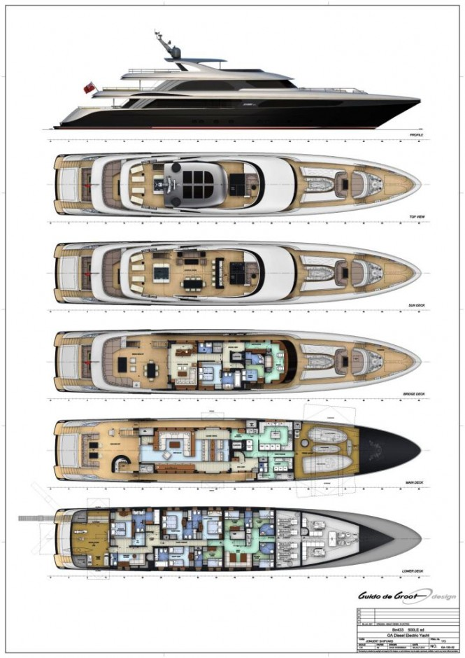 Layout of the 50m Jongert 500 LE motor yacht Bn433 by Azure Naval Architects and Guido de Groot.