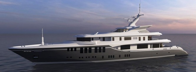 73m Nobiskrug  Motoryacht with exterior by Focus Yacht Design and Interior by H2 Yacht Design