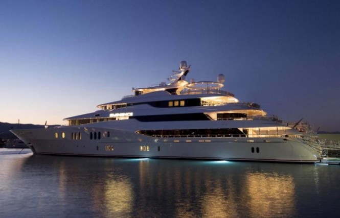78m motor yacht Amaryllis launched by Abeking &amp; Rasmussen - Photo of sister ship Yacht Eminence at night