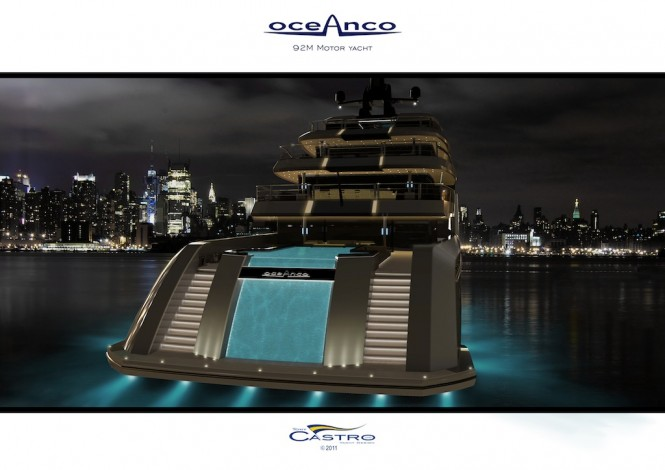 92M PA 153 yacht by Tony Castro for Oceanco - night view