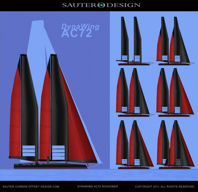 AC72 DynaWing Challenger Oracle Comparison - Sauter Carbon Offset Design DynaWing AC72 Schooner for the 34th America's Cup Challenger Catamaran