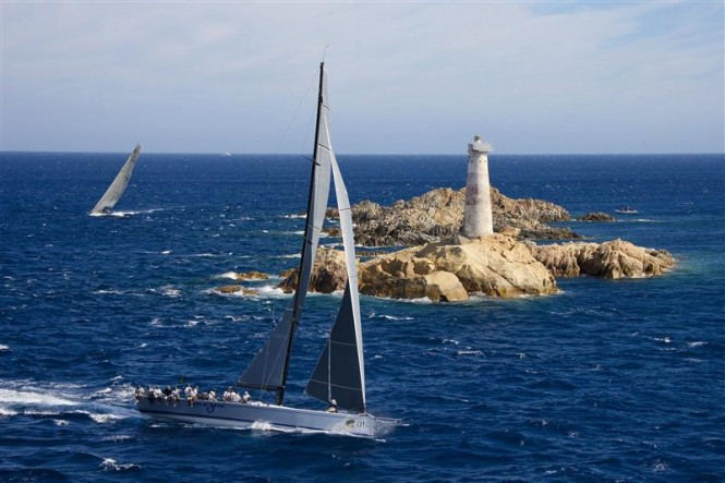 Andres Soriano's ALEGRE turning the lighthouse off Porto Cervo - Photo Credit  Rolex - Carlo Borlenghi