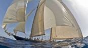 Classic sailing yachts gather in Porto Cervo for Veteran Big Boat Rally - Sailing yacht Mariette racing -Photo Credit YCCS