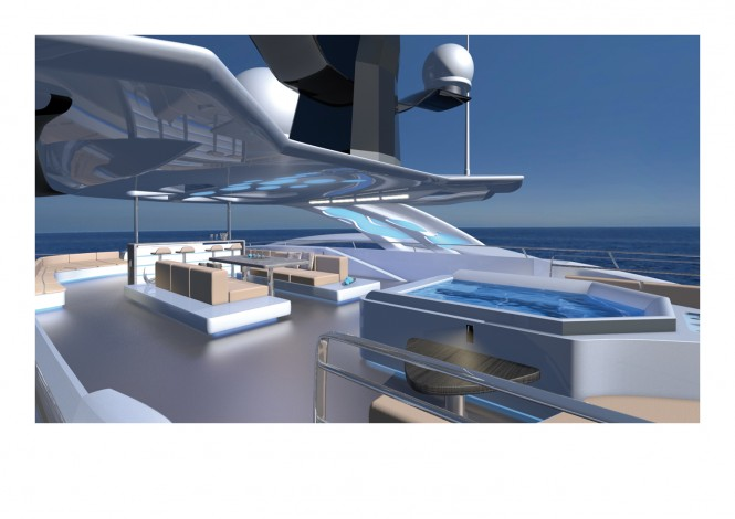 Exterior spaces on board of superyacht Proxima - rendering and design by RF Yachts