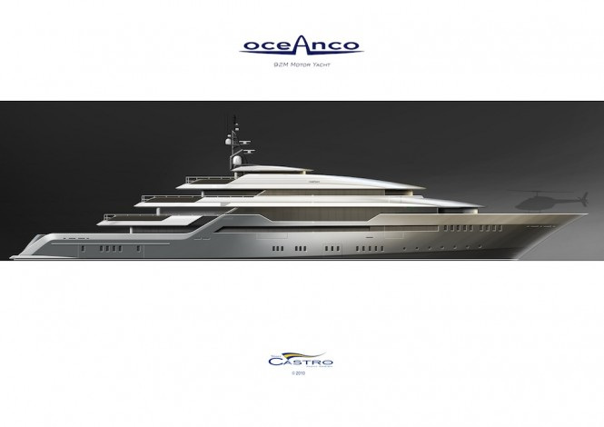 Eye-catching profile of the 92M Tony Castro PA153 Yacht design for Oceanco