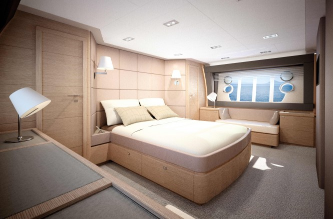 Ferretti 690 motor yacht Cabin - Credit Ferretti Yachts 