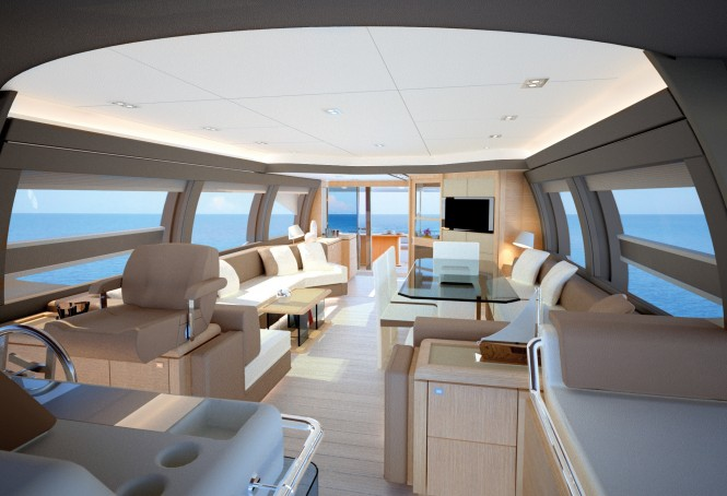 Ferretti 690 motor yacht project interior - Credit Ferretti Yachts 