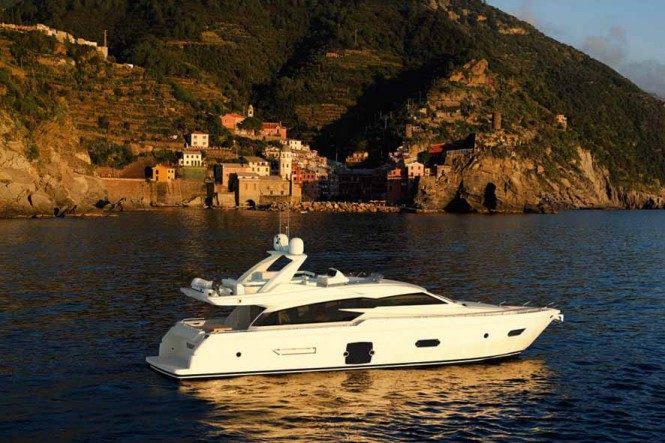 Ferretti 720 Yacht presented at the 2011 Cannes International Boat and Yacht ...