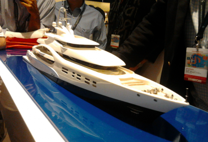 Mr. Cristian Schwarzwälder, Sales Director Yachts for Blohm + Voss, with designers Mick Leach and Mark Smith from Michael Leach Design Ltd unveiled a model of the 88m MCA Yacht Concept ICE at the Monaco Yacht Show