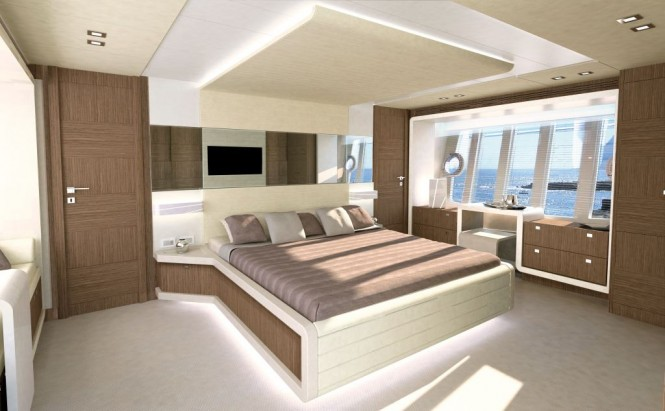 New Ferretti 870 motor yacht Cabin - Credit Ferretti Group