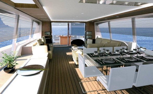 New Ferretti 870 motor yacht project interior