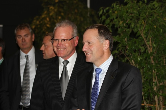 New Zealand Prime Minister John Key and Marine Industries Association President, Peter Busfield at Opening Cocktail Function - Auckland International Boat Show and Superyacht Captains Forum 2011' - Richard Gladwe