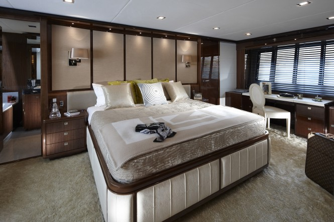 Princess Yachts 98 Motor Yacht Master Stateroom in collaboration with Fendi Casa