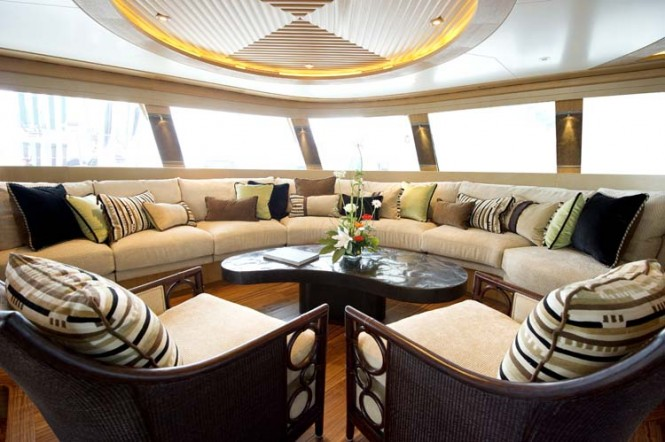 Sailing catamaran HEMISPHERE  by Pendenniswith interior design by Michael Leach.